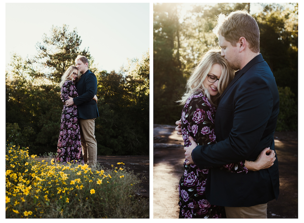 cute-couple-hug-flowers-smile-forever-21-river-west-arabia-mountain-atlanta-georgia-wedding-photographer