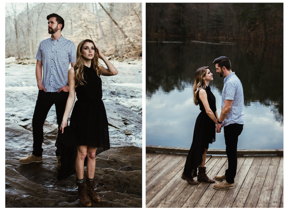 beautiful-cute-hot-couple-pose-under-bridge-on-dock-lake-reflection-river-photo-shoot-outdoor-sarah-tyler-hander-sope-creek-atlanta-georgia-photographer